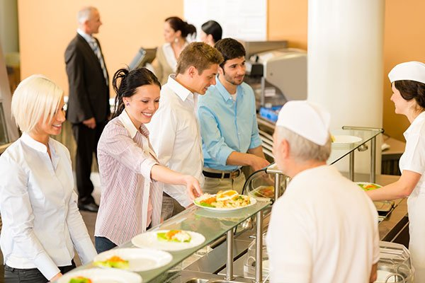 Employees in an office cafeteria